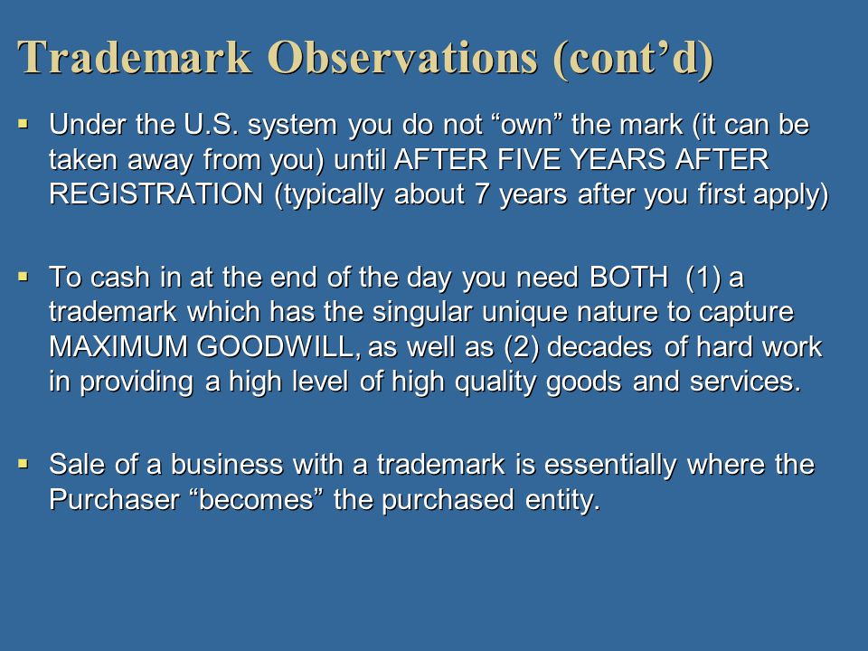 Trademark Observations (cont'd)