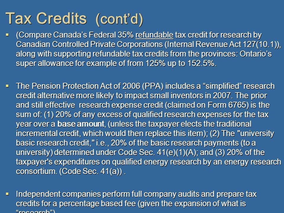 Tax Credits (cont'd)