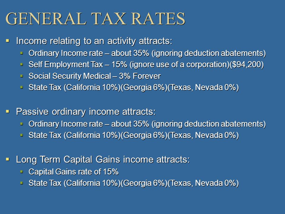 GENERAL TAX RATES Income relating to an activity attracts: