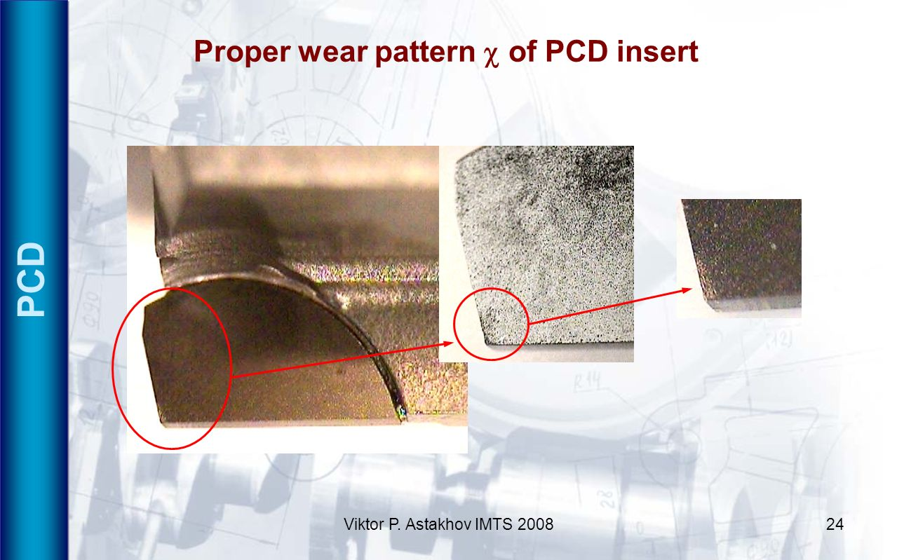 Proper wear pattern c of PCD insert