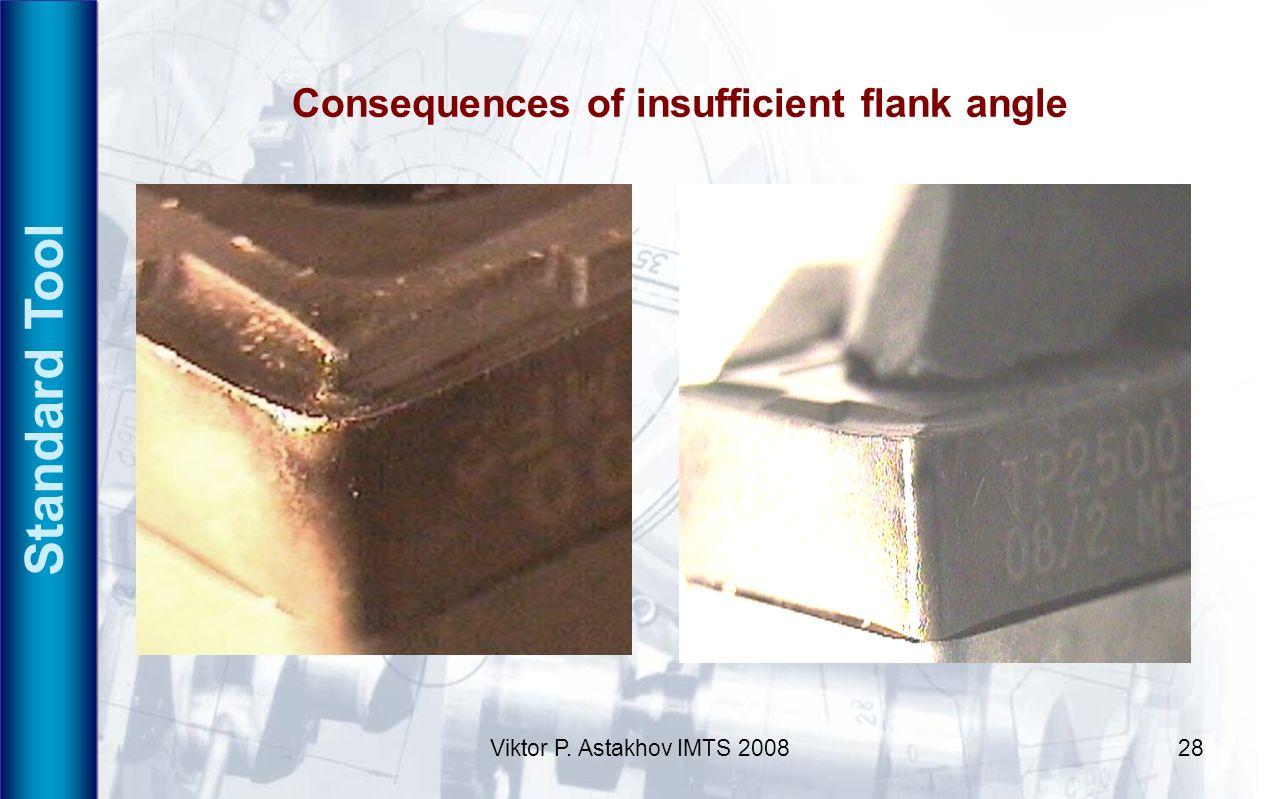 Standard Tool Consequences of insufficient flank angle