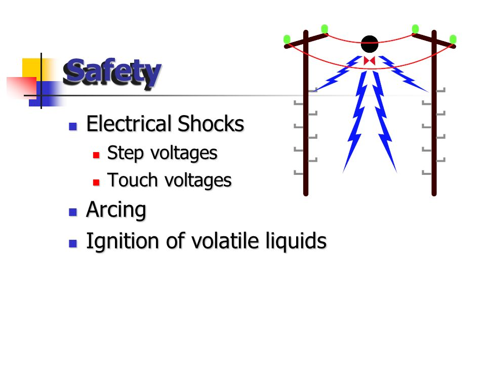 Safety Electrical Shocks Arcing Ignition of volatile liquids