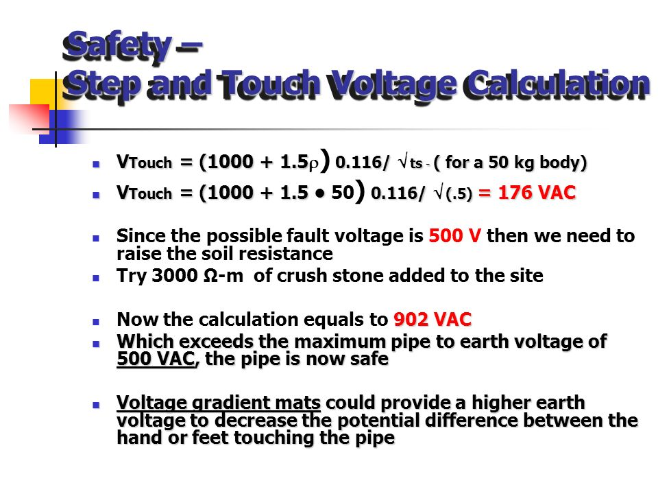 Safety – Step and Touch Voltage Calculation