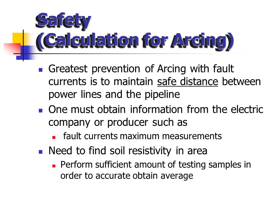 Safety (Calculation for Arcing)