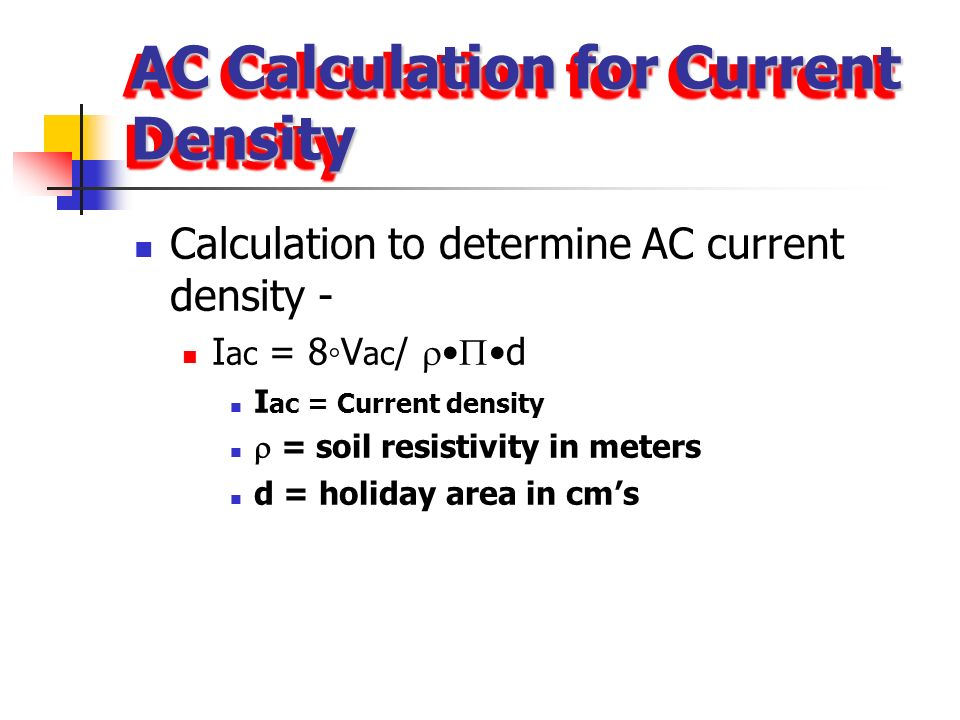 AC Calculation for Current Density