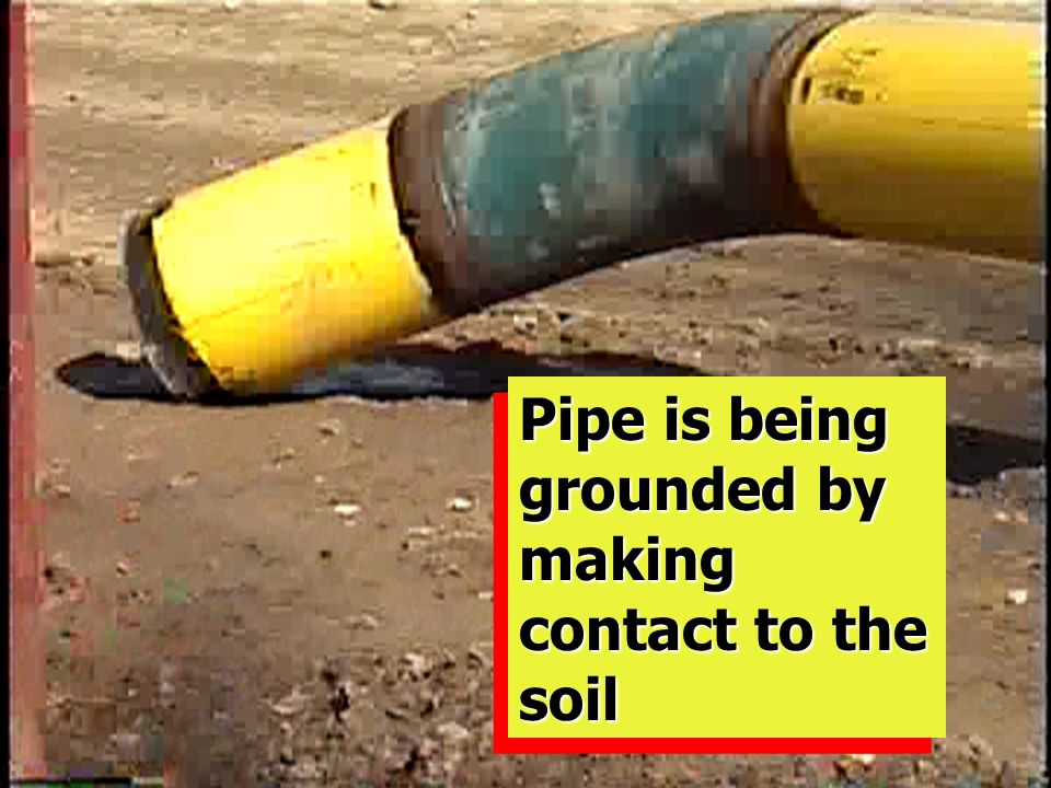 Pipe is being grounded by making contact to the soil