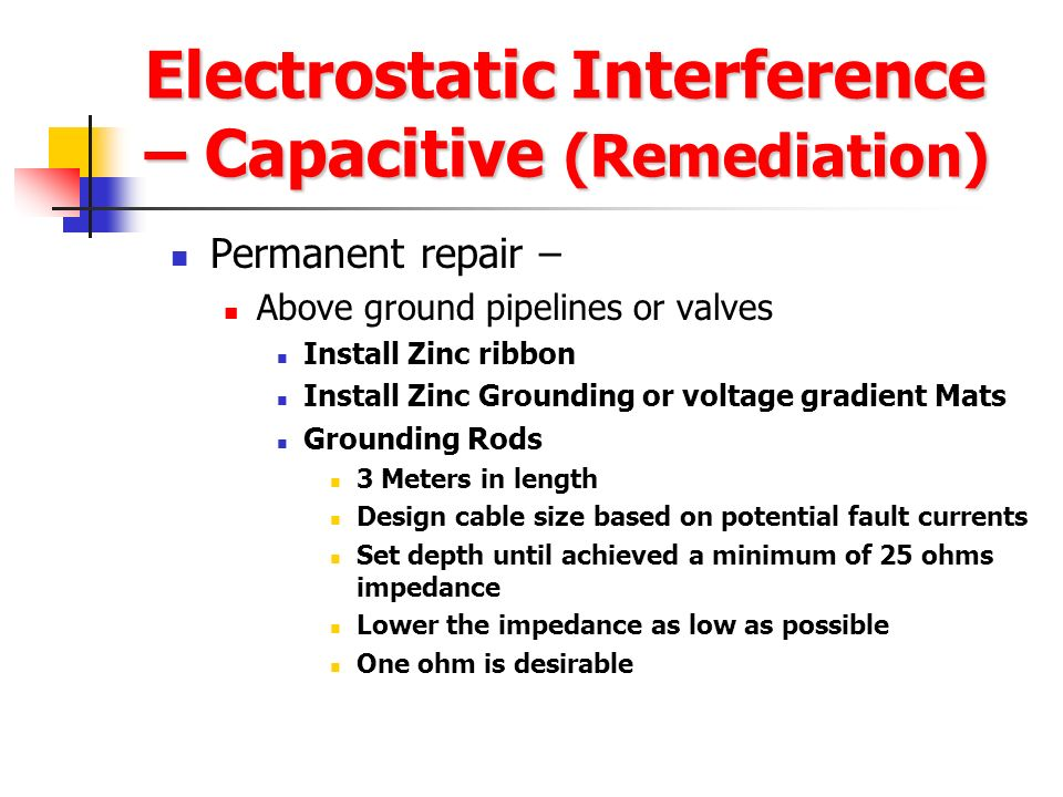 Electrostatic Interference – Capacitive (Remediation)