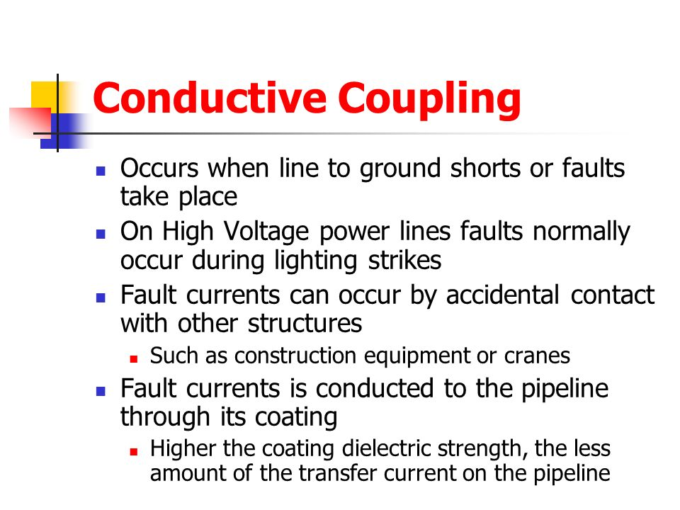 Conductive Coupling Occurs when line to ground shorts or faults take place.