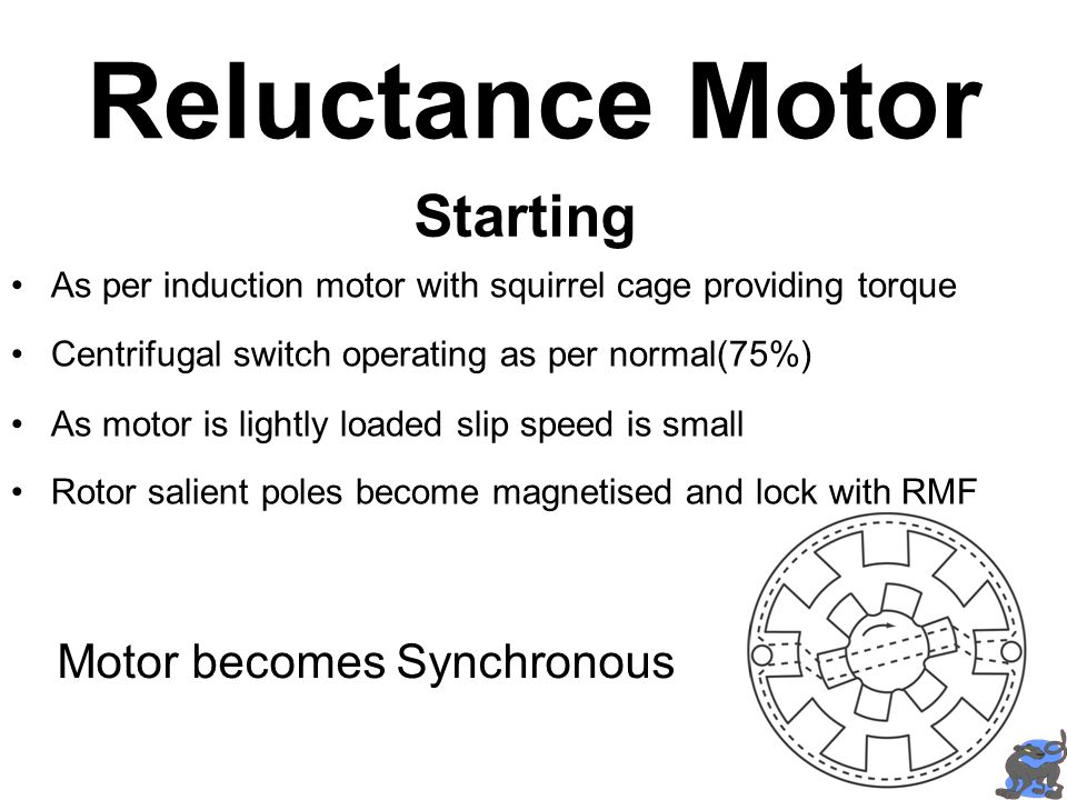 Reluctance Motor Starting Motor becomes Synchronous