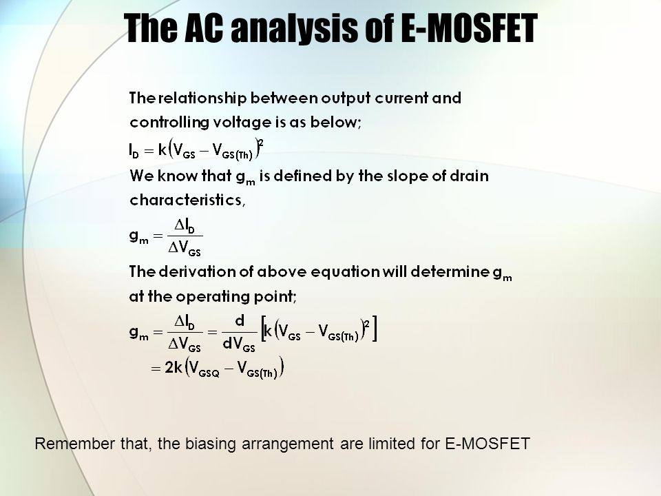 The AC analysis of E-MOSFET