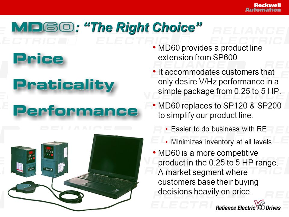 : The Right Choice MD60 provides a product line extension from SP600