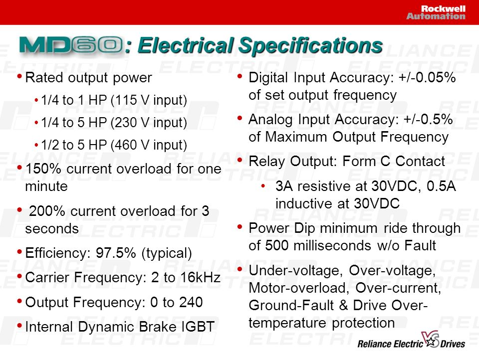 : Electrical Specifications