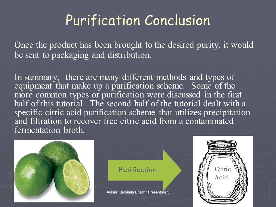 Purification Conclusion