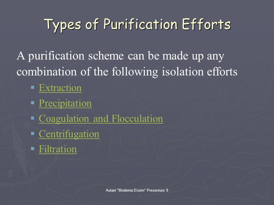 Types of Purification Efforts