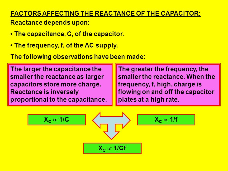 FACTORS AFFECTING THE REACTANCE OF THE CAPACITOR:
