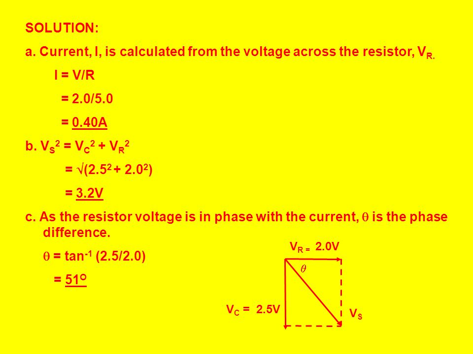 a. Current, I, is calculated from the voltage across the resistor, VR.