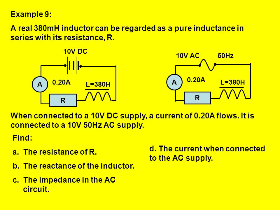 The reactance of the inductor. The impedance in the AC circuit.