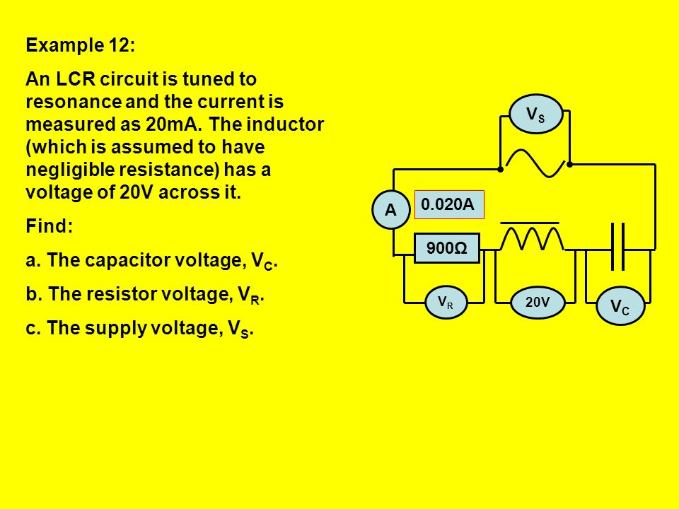 The capacitor voltage, VC. The resistor voltage, VR.