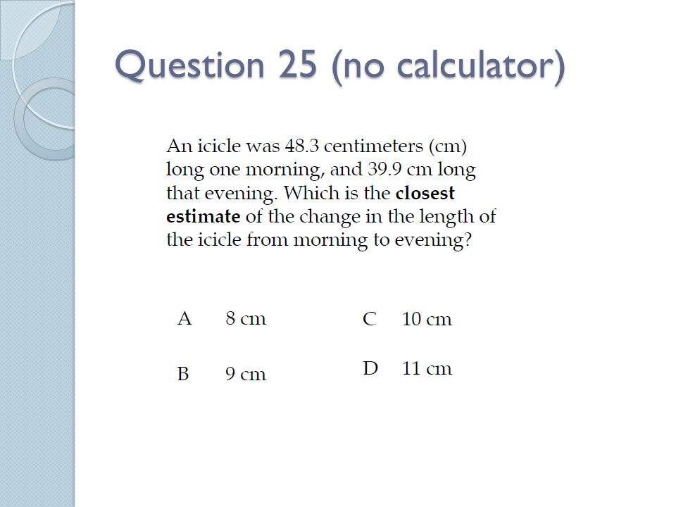 Question 25 (no calculator)