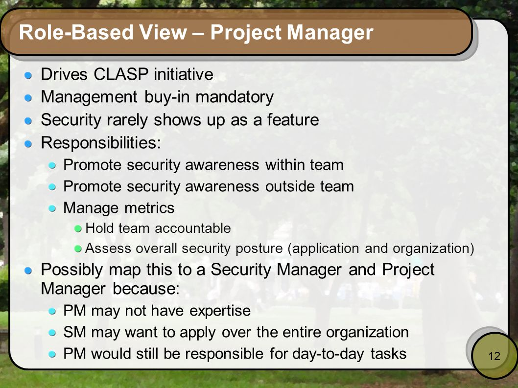 Role-Based View – Project Manager