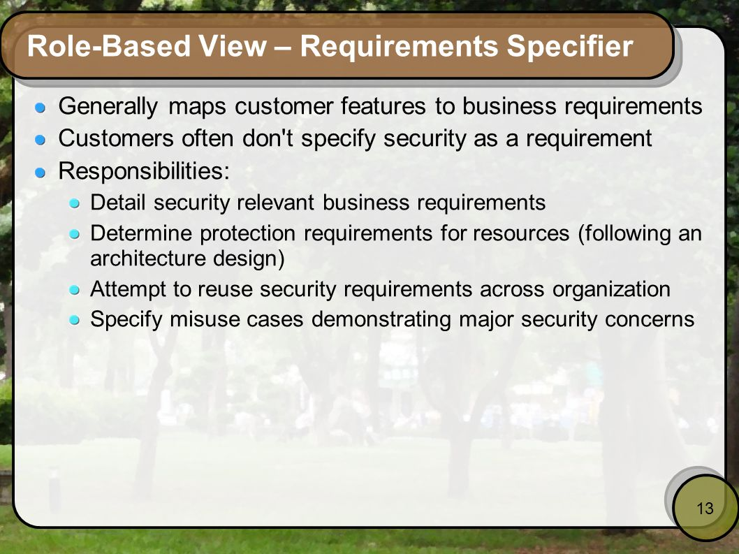 Role-Based View – Requirements Specifier