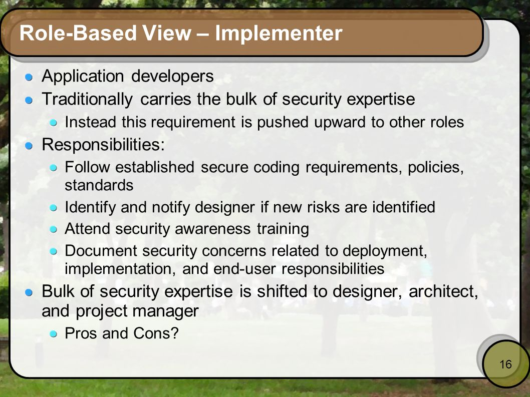 Role-Based View – Implementer