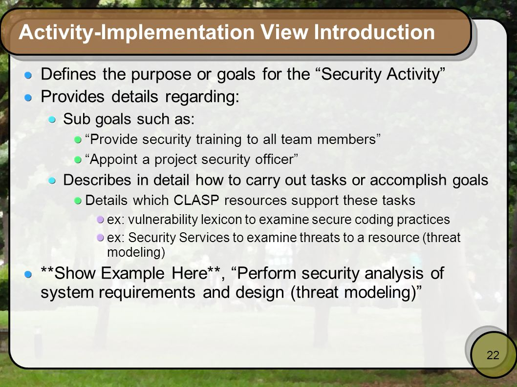 Activity-Implementation View Introduction