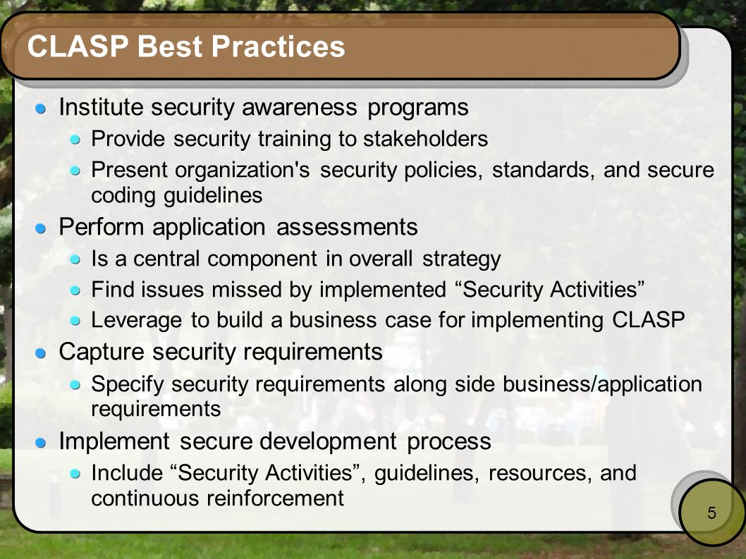 CLASP Best Practices Institute security awareness programs