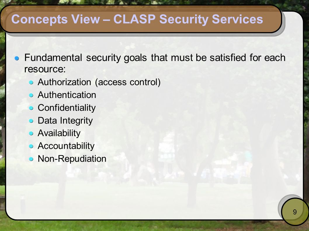 Concepts View – CLASP Security Services