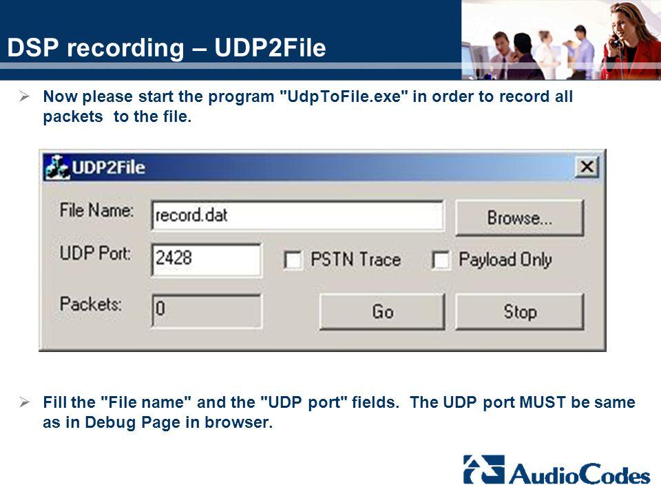 DSP recording – UDP2File