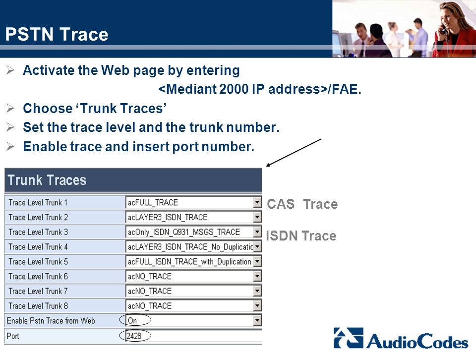 PSTN Trace Activate the Web page by entering