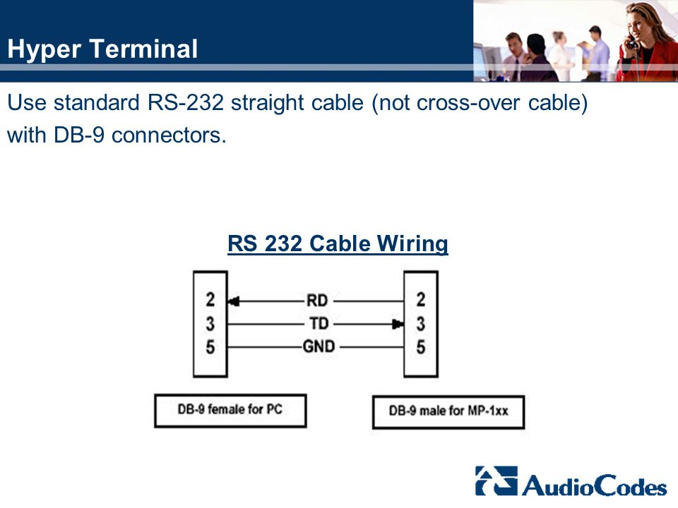 Hyper Terminal Use standard RS-232 straight cable (not cross-over cable) with DB-9 connectors. RS 232 Cable Wiring.
