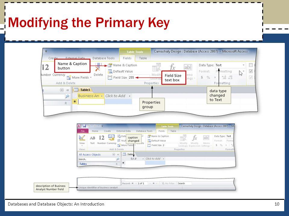 Modifying the Primary Key