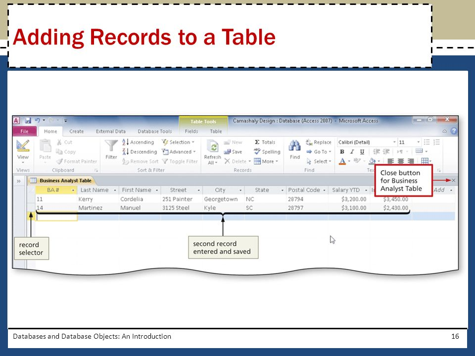 Adding Records to a Table