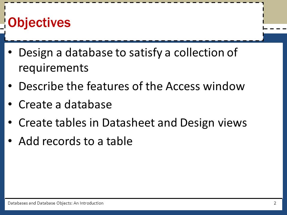 Objectives Design a database to satisfy a collection of requirements