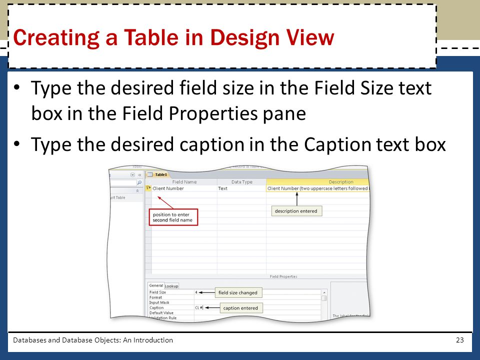 Creating a Table in Design View