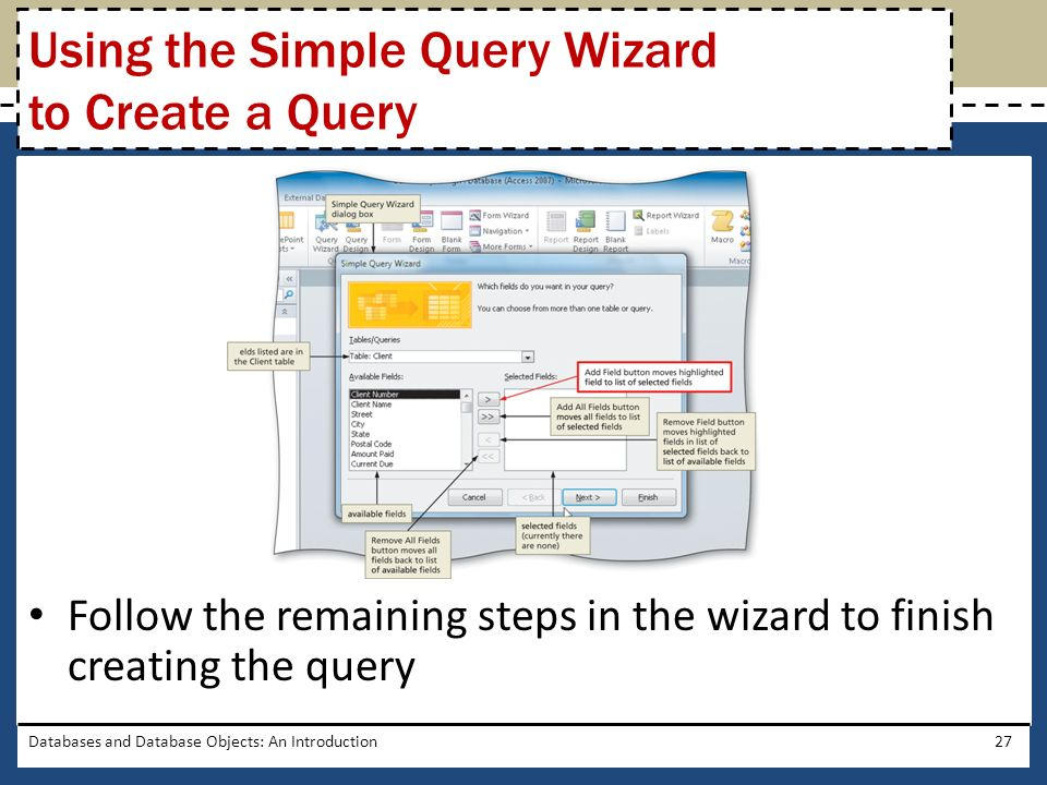 Using the Simple Query Wizard to Create a Query