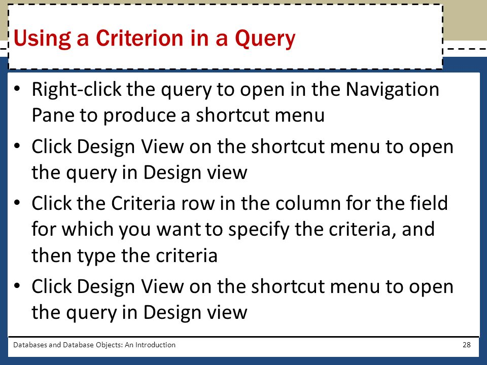 Using a Criterion in a Query