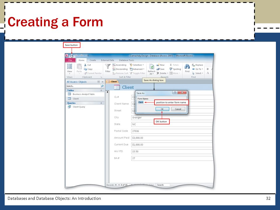 Creating a Form Databases and Database Objects: An Introduction