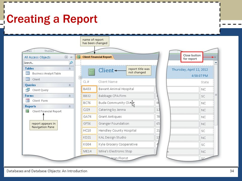Creating a Report Databases and Database Objects: An Introduction