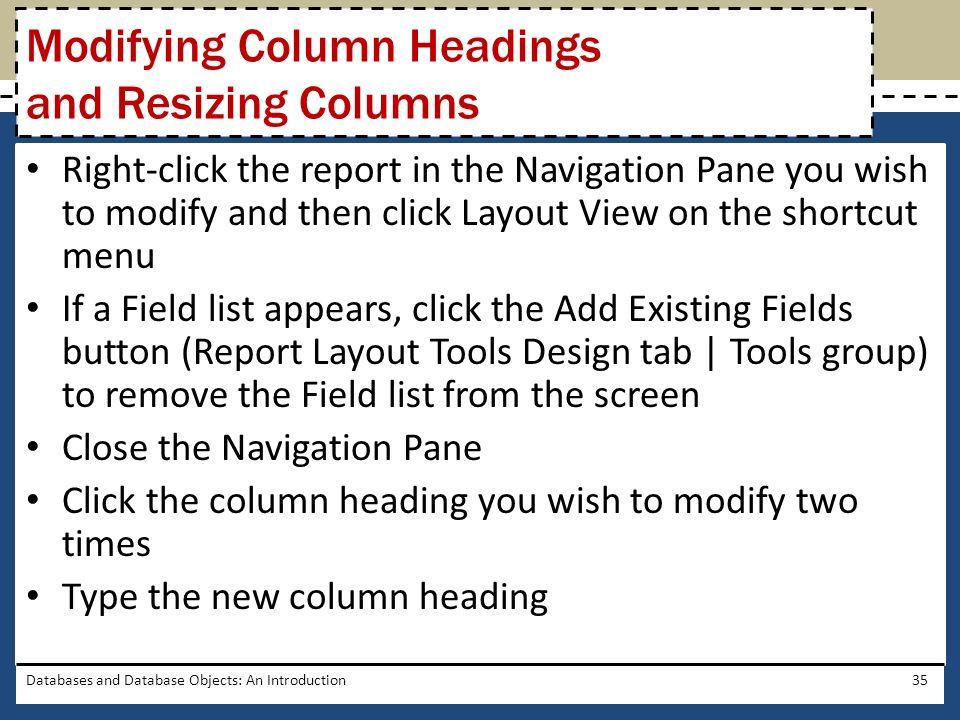 Modifying Column Headings and Resizing Columns