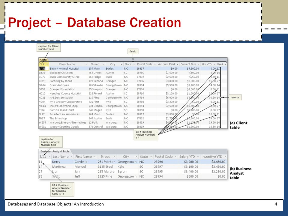 Project – Database Creation