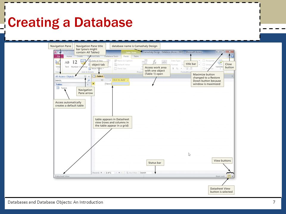 Creating a Database Databases and Database Objects: An Introduction