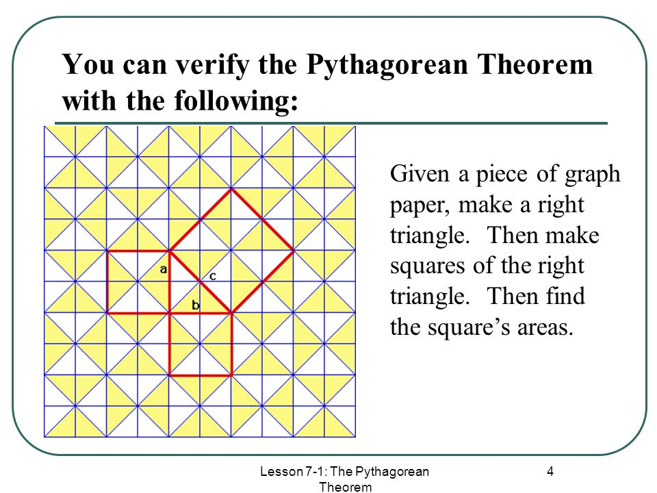 the pythagorean theorem 2 essay But, by the pythagorean theorem, a 2 + b 2 = c 2, so a + b = c conversely, if we can prove that a + b = c for three similar figures without using the pythagorean.