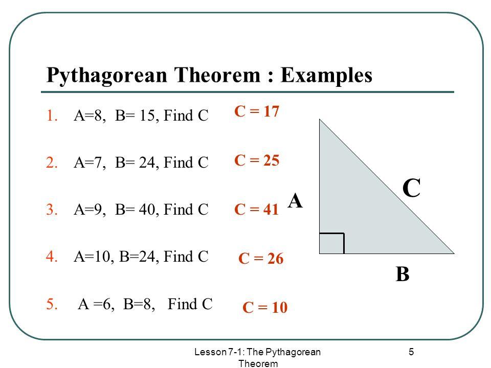 Pythagorean Theorem : Examples