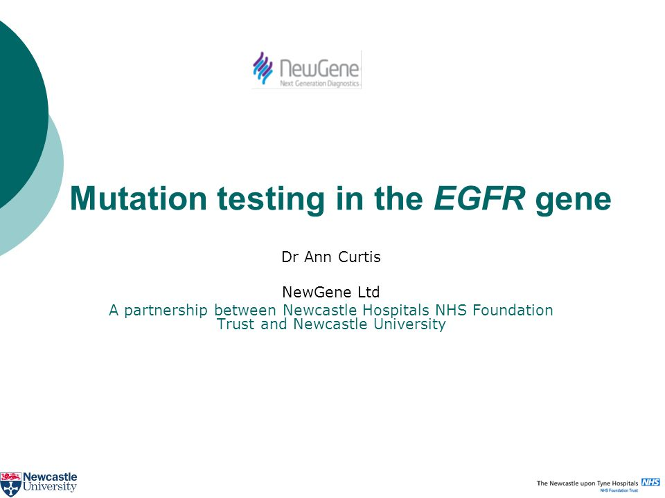 Mutation testing in the EGFR gene