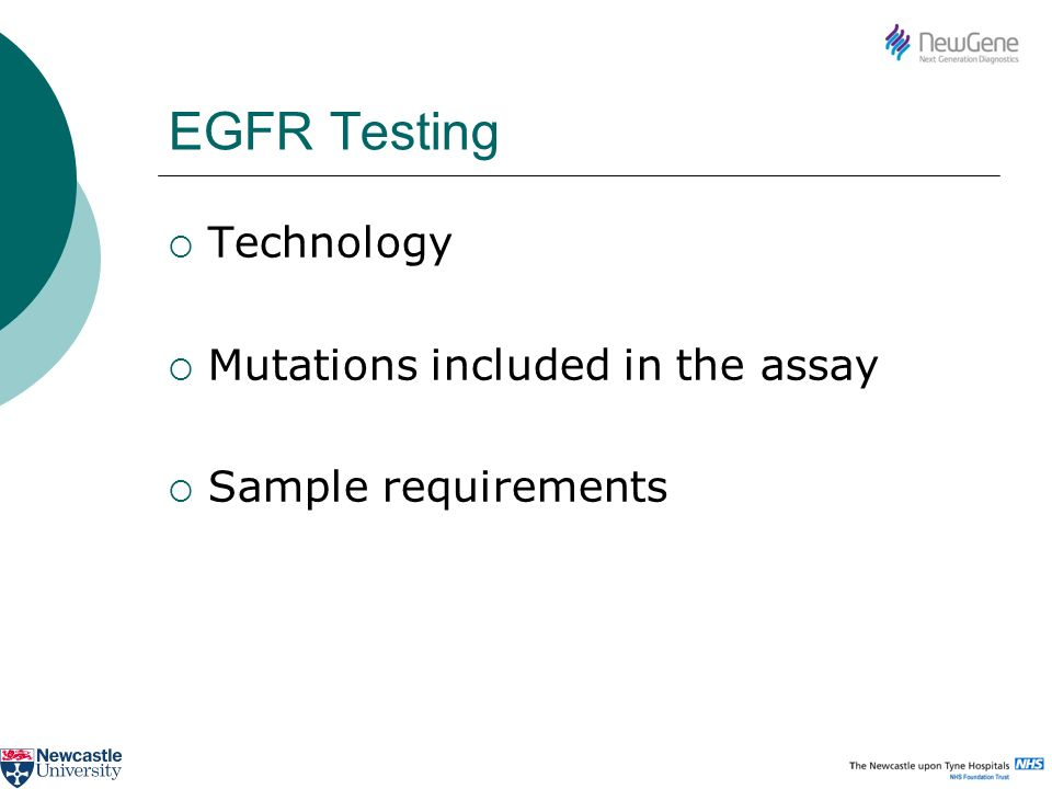 EGFR Testing Technology Mutations included in the assay