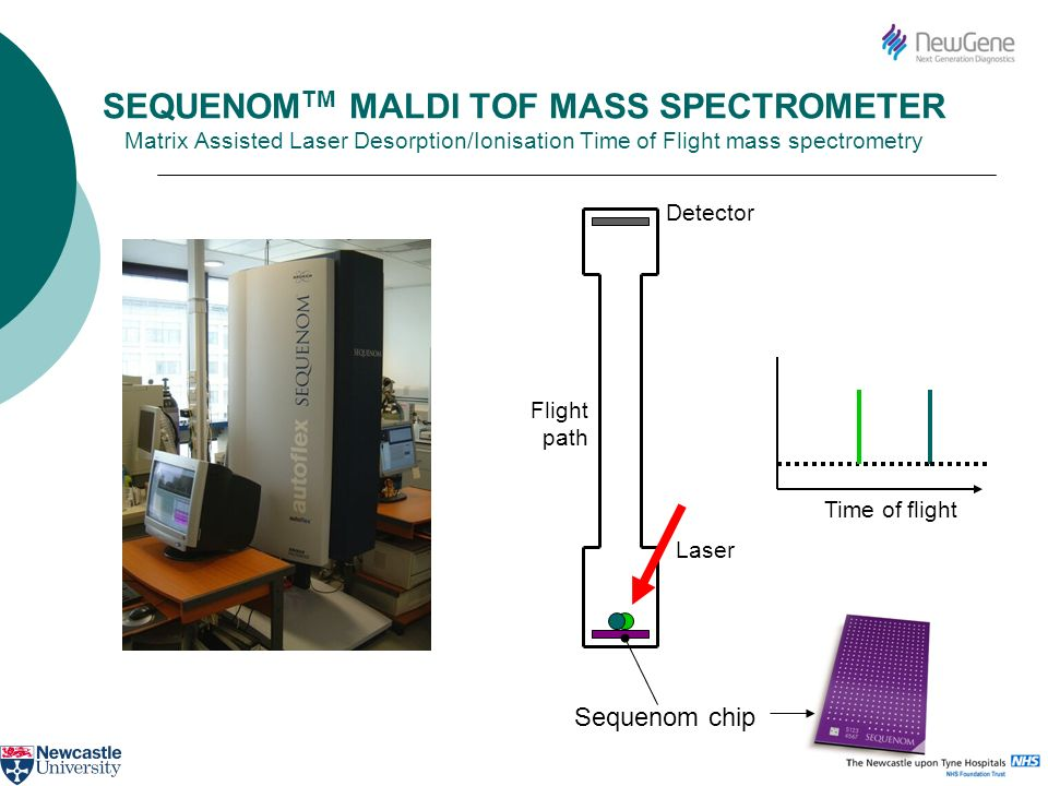 SEQUENOMTM MALDI TOF MASS SPECTROMETER Matrix Assisted Laser Desorption/Ionisation Time of Flight mass spectrometry