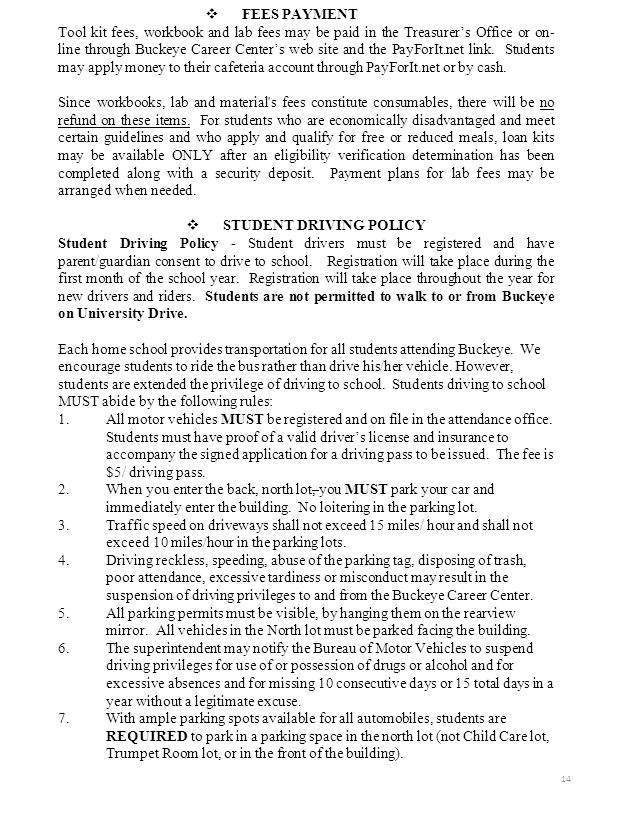STUDENT DRIVING POLICY