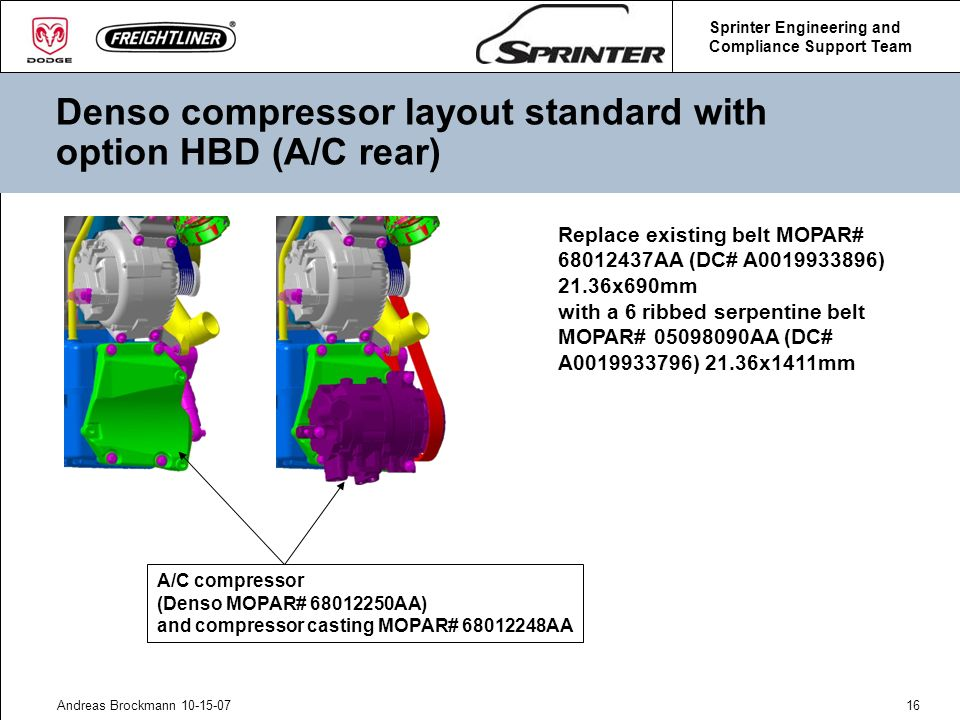 Denso compressor layout standard with option HBD (A/C rear)
